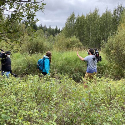 On location in Calgary directing an episode of Hors Québec 2020